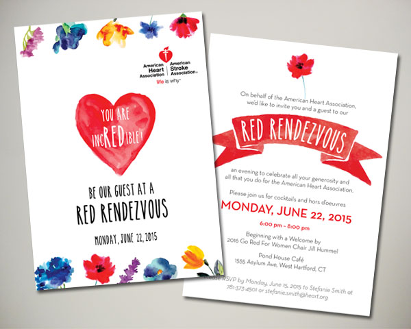 American Heart Association private cocktail invitation
