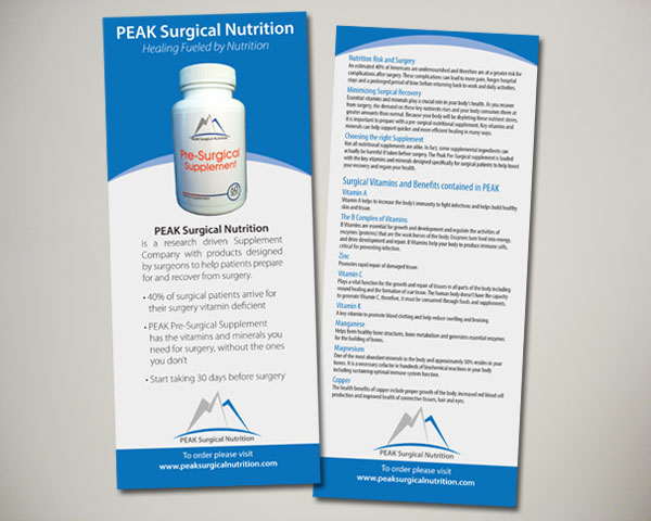 peak surgical nutrition supplements handout