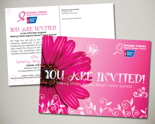 american cancer society making strides against breast cancer summit postcard design