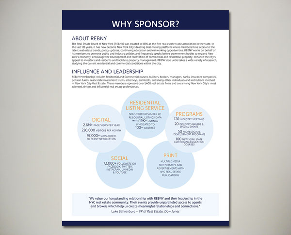 real estate board of NY REBNY sponsorship packet design