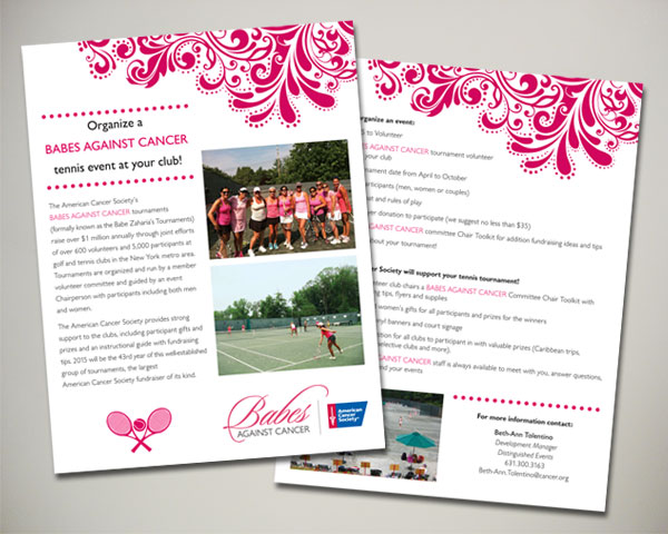 babes against cancer fundraising tennis flyer