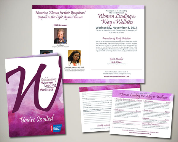 cancer society non profit women leading the way to wellness luncheon invitation