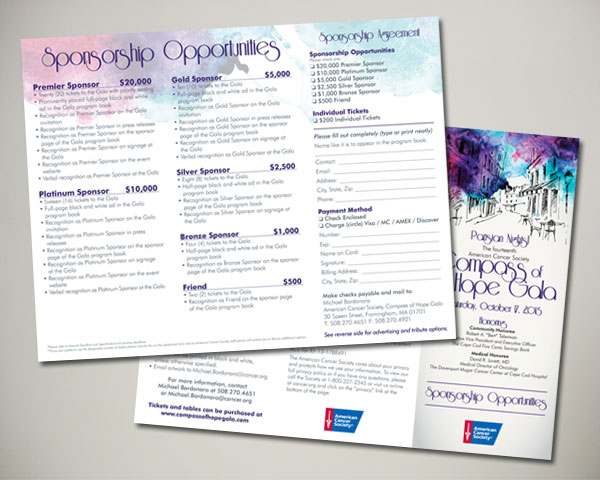 non profit compass of hope gala sponsor trifold brochure