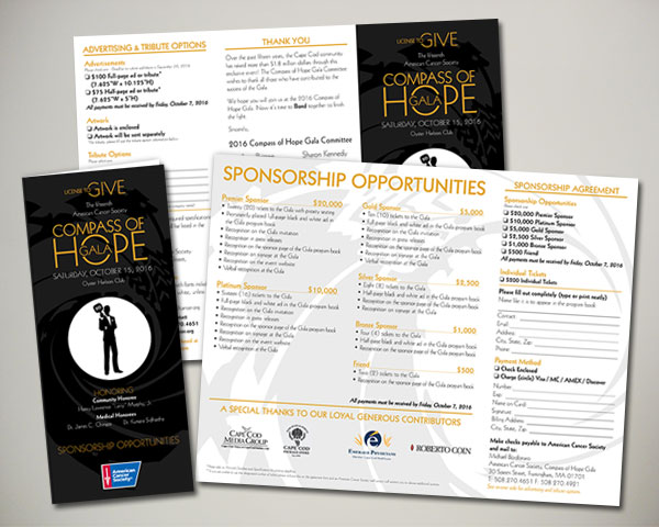 cancer society non profit compass of hope gala sponsor trifold brochure