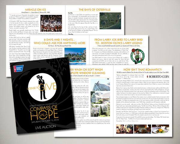 cancer society non profit compass of hope gala auction book
