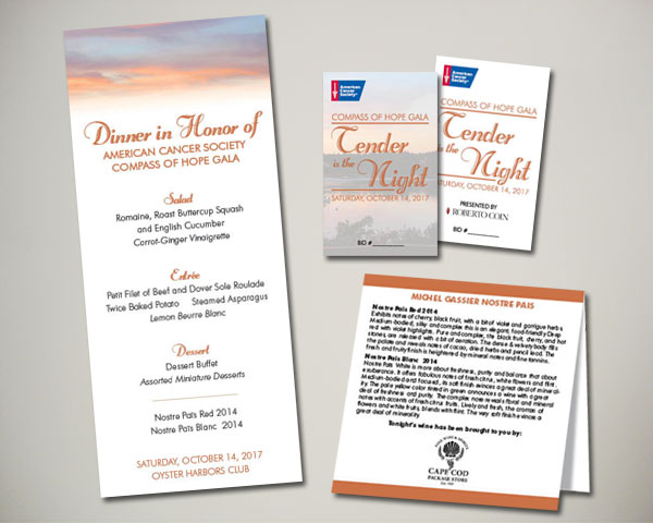 cancer society non profit compass of hope gala menu, table card, bid cards