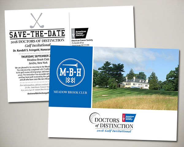 american cancer society doctors of distinction golf invitational save the date design
