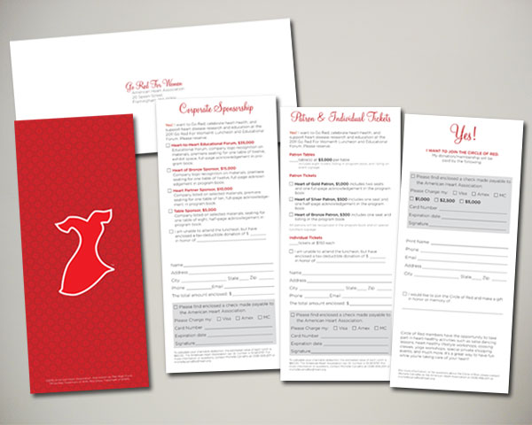 go red for women luncheon reply cards