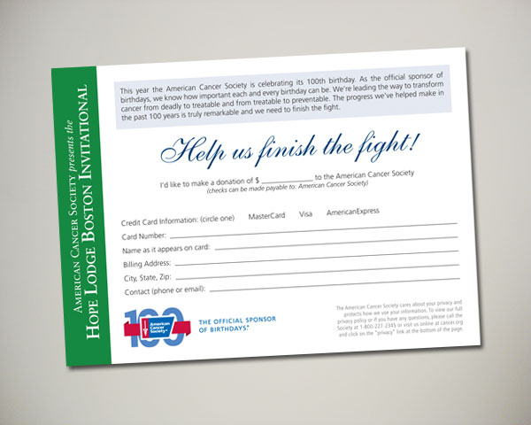 golf invitational donation card