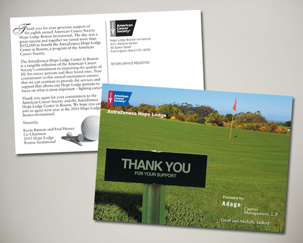 golf invitational thank you postcard