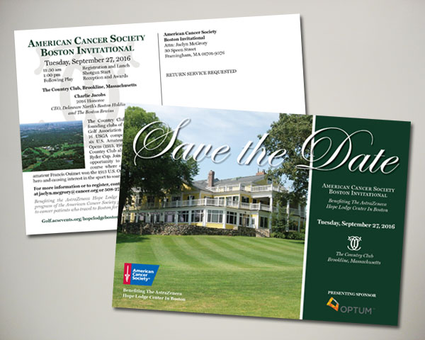 american cancer society boston golf invitational save the date design