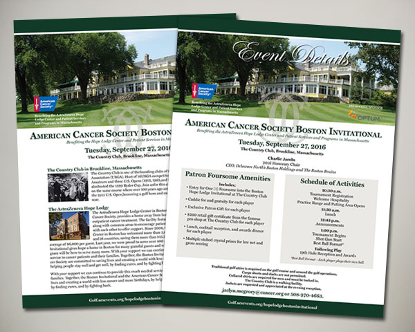 american cancer society boston golf invitational sponsorship design