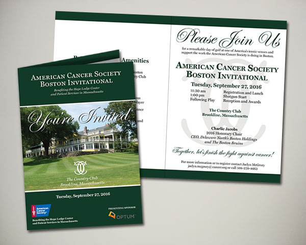 american cancer society boston golf invitational invitation design