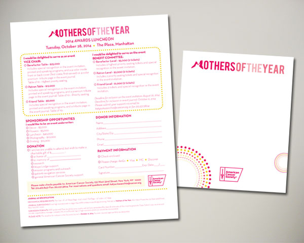 mothers of the year non prfit luncheon sponsor sheet notecard