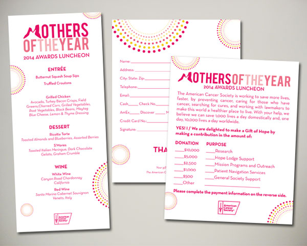 mothers of the year non prfit luncheon menu donation card