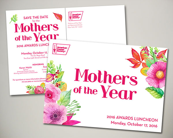 cancer society mothers of the year non profit luncheon nyc save the date design