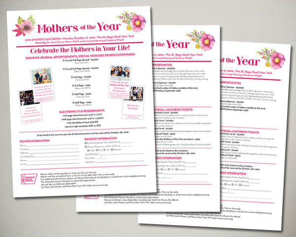 cancer society mothers of the year non profit luncheon nyc sponsorship sheets