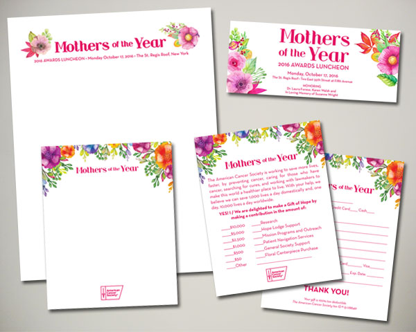 cancer society mothers of the year non profit luncheon nyc notecard donation card web banner