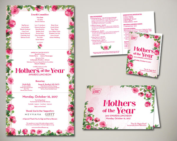 cancer society mothers of the year non profit luncheon nyc invitation design