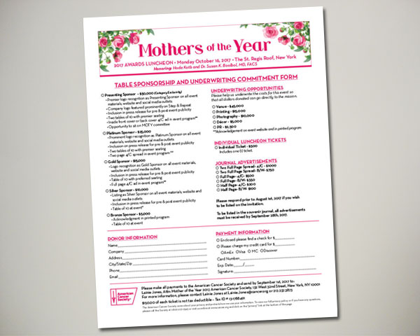 cancer society mothers of the year non profit luncheon nyc sponsorship sheet