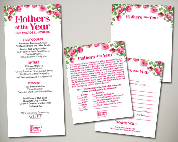 cancer society mothers of the year non profit luncheon nyc day of menu donation card
