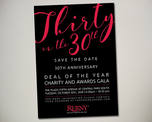 REBNY deal of the year thirty on 30th nonprofit nyc save the date design