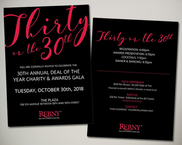 REBNY deal of the year thirty on 30th nonprofit nyc invitation design