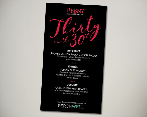 REBNY deal of the year thirty on 30th nonprofit nyc menu design